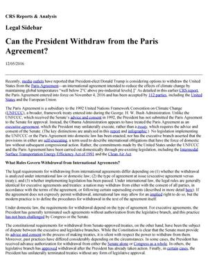 Primary view of object titled 'Can the President Withdraw from the Paris Agreement?'.
