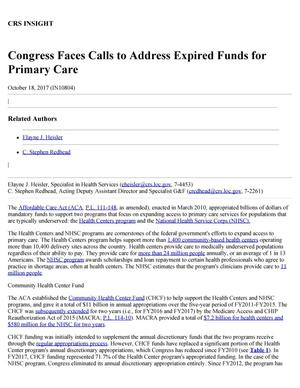 Primary view of object titled 'Congress Faces Calls to Address Expired Funds for Primary Care'.