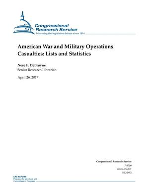 Primary view of object titled 'American War and Military Operations Casualties: Lists and Statistics'.