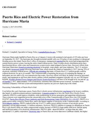 Primary view of object titled 'Puerto Rico and Electric Power Restoration from Hurricane Maria'.