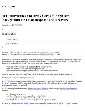 Primary view of object titled '2017 Hurricanes and Army Corps of Engineers: Background for Flood Response and Recovery'.