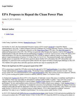 Primary view of object titled 'EPA Proposes to Repeal the Clean Power Act'.