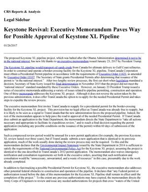 Primary view of object titled 'Keystone Revival: Executive Memorandum Paves Way for Possible Approval of Keystone XL Pipeline'.
