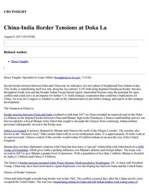 Primary view of object titled 'China-India Border Tensions at Doka-La'.