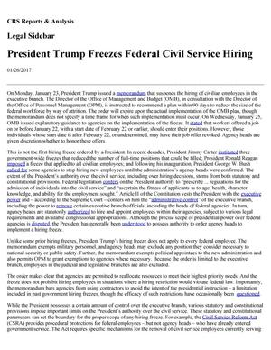 Primary view of object titled 'President Trump Freezes Federal Civil Service Hiring'.