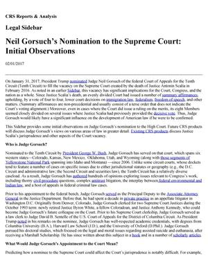 Primary view of object titled 'Neil Gorsuch's Nomination to the Supreme Court: Initial Observations'.