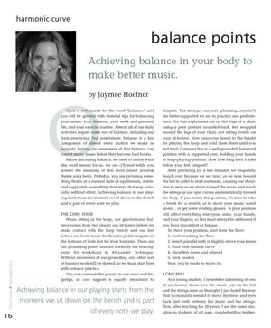 Balance Points: Achieving Balance in Your Body to Make Better Music