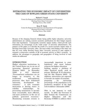Primary view of object titled 'Estimating the Economic Impact of Universities: The Case of Bowling Green State University'.