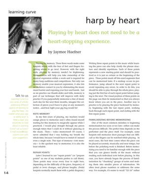 Harp by Heart: Playing by Heart Does Not Need to be a Heart-Stopping Experience