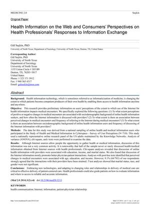 Primary view of object titled 'Health Information on the Web and Consumers' Perspectives on Health Professionals' Responses to Information Exchange'.