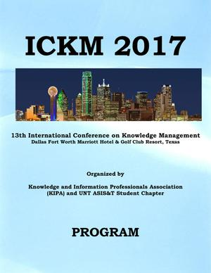 Primary view of object titled 'ICKM 2017 Program'.