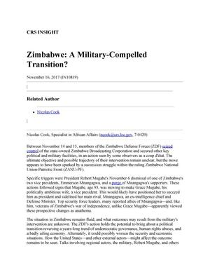 Primary view of object titled 'Zimbabwe: A Military-Compelled Transition?'.