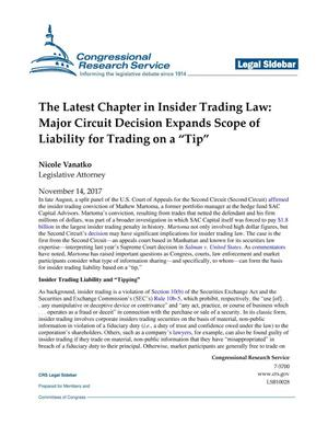 "Primary view of object titled 'The Latest Chapter in Insider Trading Law: Major Circuit Decision Expands Scope of Liability for Trading on a ""Tip""'."