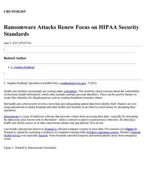 Primary view of object titled 'Ransomware Attacks Renew Foccus on HIPAA Security Sttandards'.