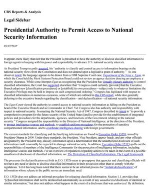 Primary view of object titled 'Presidential Authority to Permit Access to National Security Information'.
