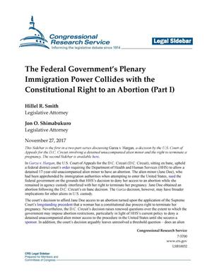Primary view of object titled 'The Federal Government's Plenary Immigration Power Collides with the Constitutional Right to an Abortion (Part 1)'.
