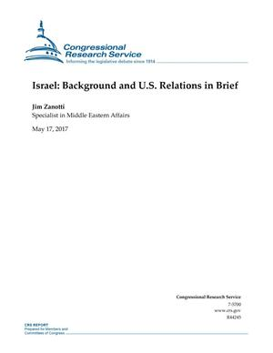 Primary view of object titled 'Israel: Background and U.S. Relations in Brief'.