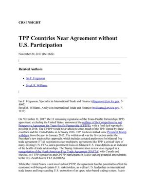 Primary view of object titled 'TPP Countries Near Agreement without U.S. Participation'.