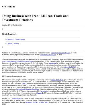 Primary view of object titled 'Doing Business with Iran: EU-Iran Trade and Investment Relations'.