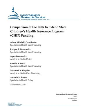 Primary view of object titled 'Comparison of the Bills to Extend State Children's Health Insurance Program (CHIP) Funding'.