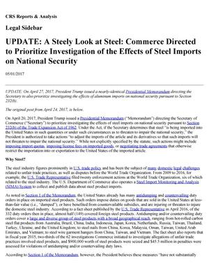 Primary view of object titled 'Update: A Steely Look at Steel: Commerce Directed to Prioritize Investigation of the Effects of Steel Imports on National Security'.