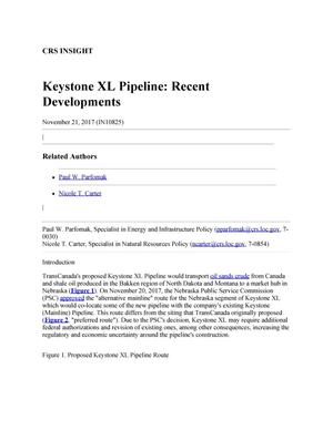 Primary view of object titled 'Keystone XL Pipeline: Recent Developments'.