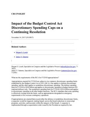 Primary view of object titled 'Impact of the Budget Control Act Discretionary Spending Caps on a Continuing Resolution'.