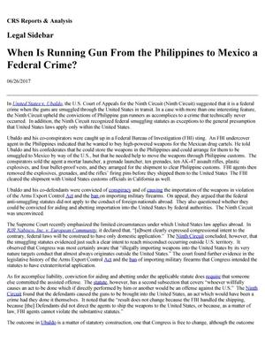 Primary view of object titled 'When is Running Guns from the Philippines to Mexico a Federal Crime?'.