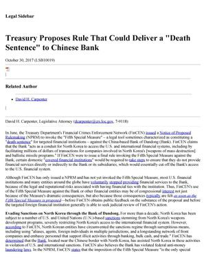 "Primary view of object titled 'Treasury Proposes Rule that Could Deliver a 'Death Sentence"" to Chinese Bank'."