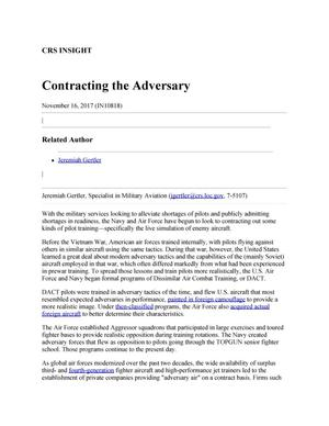 Primary view of object titled 'Contracting the Adversary'.