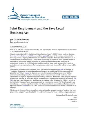 Primary view of object titled 'Joint Employment and the Save Local Business Act'.