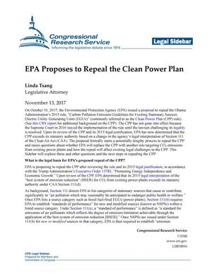 Primary view of object titled 'EPA Proposes to Repeal the Clean Power Plan'.