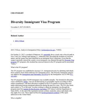Primary view of object titled 'Diversity Immigrant Visa Program'.