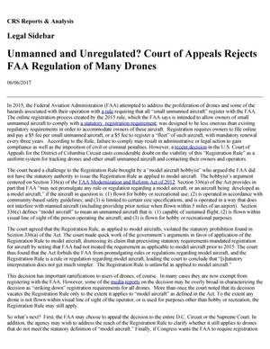 Primary view of object titled 'Unmanned and Unregulated? Court of Appeals Rejects FAA Regulation of Many Drones'.