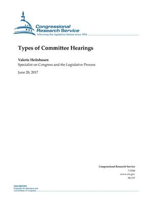 Primary view of object titled 'Types of Committee Hearings'.