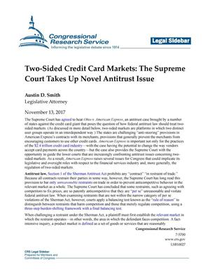 Primary view of object titled 'Two-Sided Credit Card Markets: The Supreme Court Takes Up Novel Antitrust Issue'.