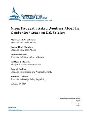 Primary view of object titled 'Niger: Frequently Asked Questions About the October 2017 Attack on U.S. Soldiers'.