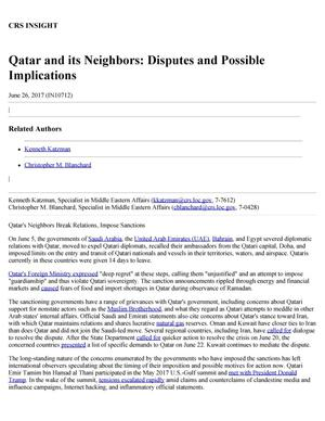 Primary view of object titled 'Qatar and Its Neighbors: Disputes and Possible Implications'.