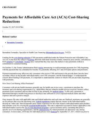 Primary view of object titled 'Payments for Affordable Care Act (ACA) Cost-Sharing Reductions'.