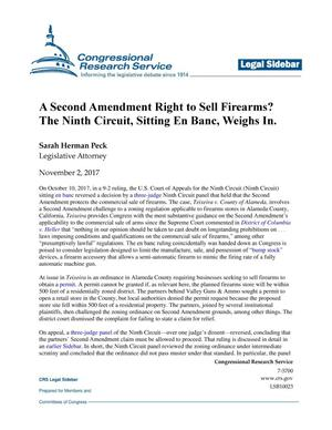 Primary view of object titled 'A Second Amendment Right to Sell Firearms? The Ninth Circuit, Sitting En Banc, Weighs In'.