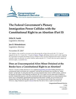 Primary view of object titled 'The Federal Government's Plenary Immigration Power Collides with the Constitutional Right to an Abortion (Part 2)'.