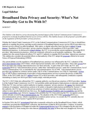 Primary view of object titled 'Broadband Data Privacy and Security: What's Net Neutrality Got to Do With It?'.