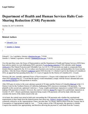 Primary view of object titled 'Department of Health and Human Services Halts Cost-Sharing Reduction (CSR) Payments'.