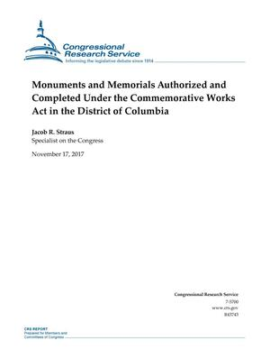 Primary view of object titled 'Monuments and Memorials Authorized and Completed Under the Commemorative Works Act in the District of Columbia'.