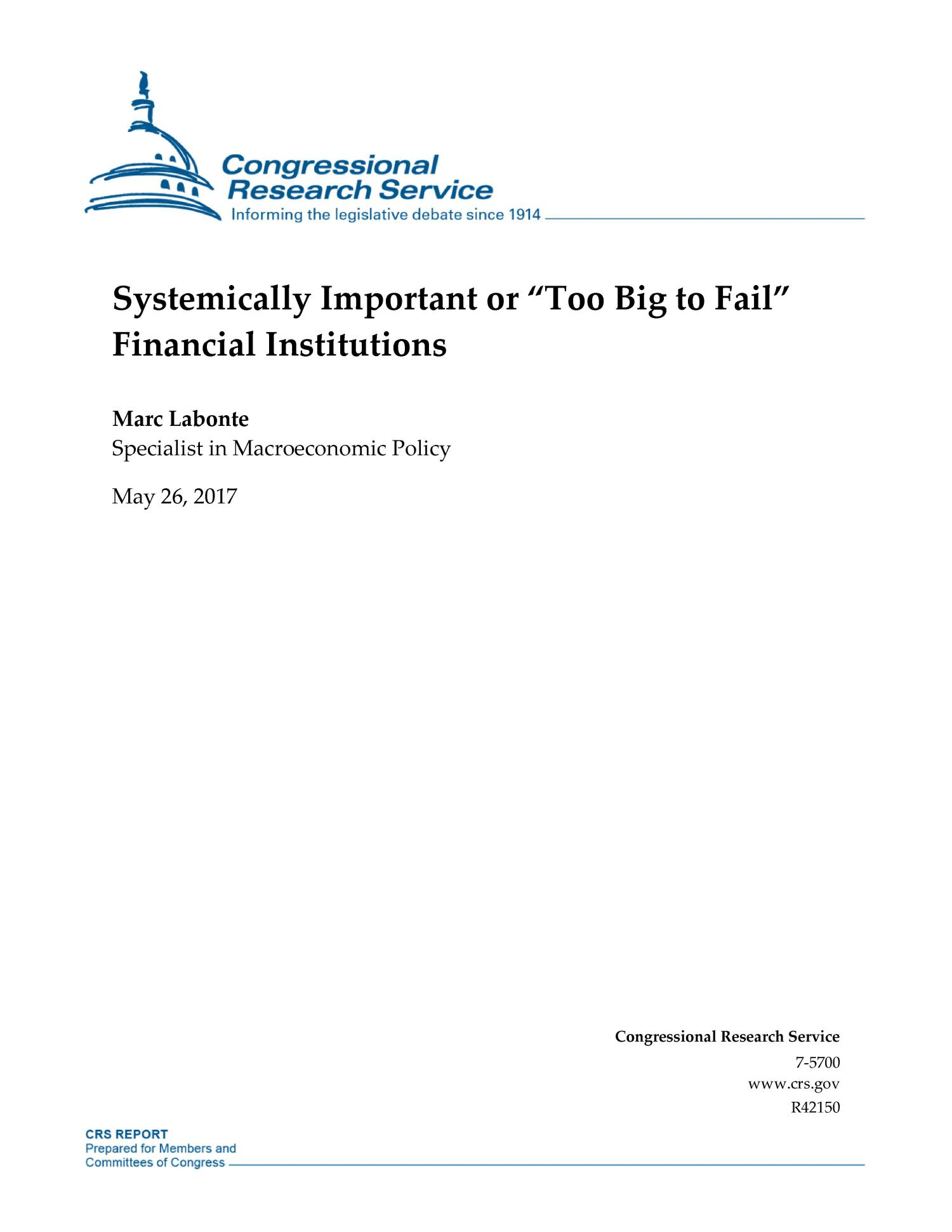"Systemically Important or ""Too Big to Fail"" Financial Institution.                                                                                                      [Sequence #]: 1 of 40"