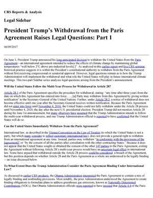 Primary view of object titled 'President Trump's Withdrawal from the Paris Agreement Raises Legal Questions: Parts 1 and 2'.