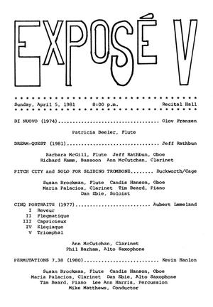Primary view of object titled '[Recital Program: Exposé, April 5, 1981]'.