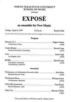 Primary view of object titled '[Recital Program: Exposé, April 6, 1979]'.