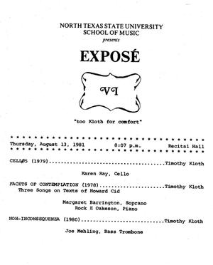 Primary view of object titled '[Recital Program: Exposé, August 13, 1981]'.