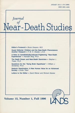 Primary view of object titled 'Journal of Near-Death Studies, Volume 15, Number 1, Fall 1996'.